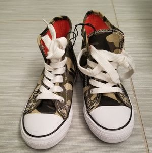 Other - NEW Kids High Top Canvas Army Green Camo sneakers